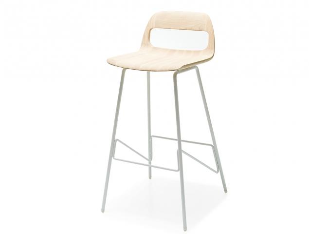 כסא בר בעל רגלי מתכת ומושב עץ