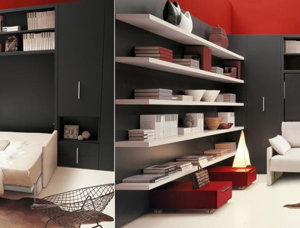 מיטת קיר הנפתחת מעל ספה מבלי צורך להזיז אותה. מנגנון קל לפתיחה וסגירה. ניתן להוסיף ארונות ויחידות אחסון מסביב.