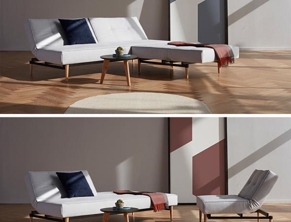 ספה וכורסא מודולריים ומוצבים בסגנון רטרו. אפשר לפתוח, לסגור וליצור וריציות שונות להתכרבלות כל המשפחה
