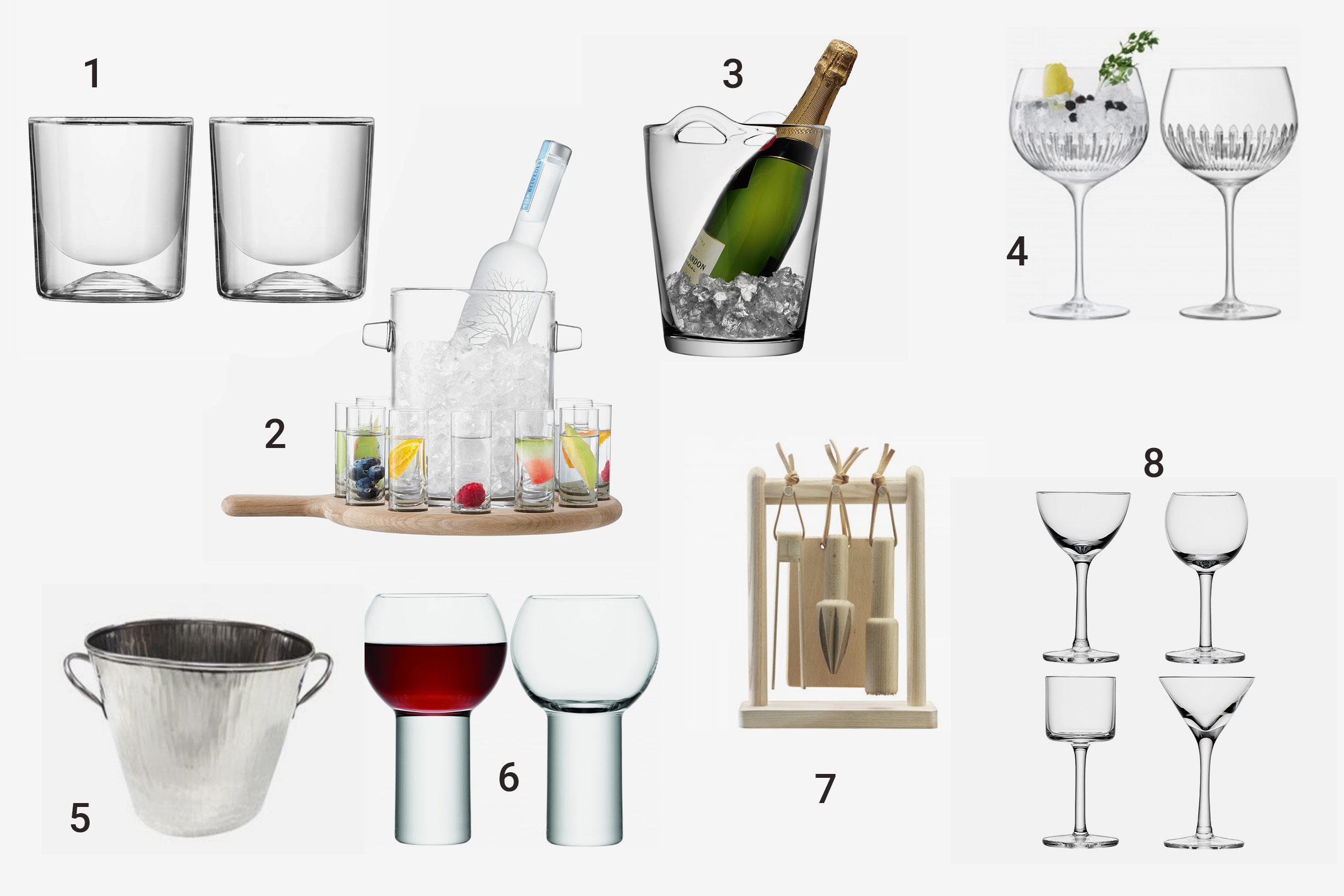 מגוון כוסות לשתייה חריפה