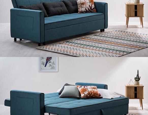 """ספה נפתחת למיטה- מעוצבת ובעלת 2 מנגנוני פתיחה עד לרוחב מיטה 190/190 ס""""מ. הספה כוללת 3 כריות מאורכות."""