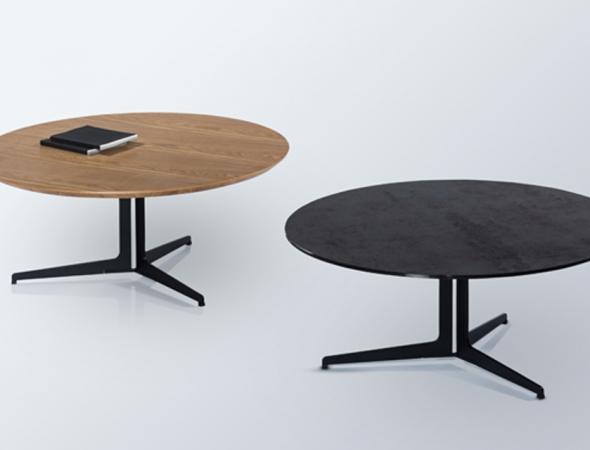 שולחן סלון עגול בגימור פורניר ASH טבעי
